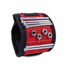 ELENKER Magnetic Wristband for Holding Screws Nails Drill Bits Red -- See this great product. Neck Wrinkles, Man Cave Gifts, Nail Drill, Magnets, Hold On, Band, Nails, Workshop, Backyard