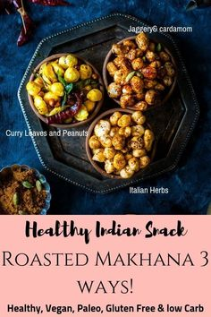 Crunchy Roasted Makhana Recipe – Three ways -. Curry leaf and Ghee roasted, Sweet Jaggery and cardamom and Italian herbs makhana. Gorgan Nut or Foxnut is actually a seed from the lotus plant.It's Healthy, Vegan,Paleo and approved, Gluten Free snack. Healthy Indian Snacks, Vegan Indian Recipes, Healthy Eating Recipes, Vegetarian Recipes, Dinner Healthy, Healthy Sweets, Healthy Kids, Snack Recipes, Roasted Makhana Recipe