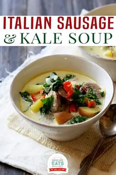 If you're looking for a creamy, rich and flavorful soup, try this Italian Sausage Kale Soup. It's a lightened up version of an Olive Garden Classic and crowd favorite, Zuppa Toscana. This Italian Sausage Kale Soup recipe probably looks and sounds pretty familiar. Copycat versions of Olive Garden's Zuppa Toscana have been floating around the web for years. And it has always been a favorite soup of ours to make at home. | @goodlifeeats Great Dinner Recipes, Romantic Dinner Recipes, Whole Food Recipes, Italian Appetizers, Appetizer Recipes, Healthy Appetizers, Freezer Meals, Quick Meals, Sausage And Kale Soup