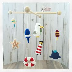 Excited to share the latest addition to my #etsy shop: CROCHET PATTERN - NAUTICAL Amigurumi / Lighthouse / Whale / Lifebelt / Sea Star / Seagull / Seaside / Handmade / Nursery Mobile - pdf only