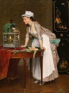 Joseph Caraud (French, 1821 - The Pet Cockatoo Private collection Dates: 1867 Artist age: Approximately 46 years old. Feathered Friends The Pet Canaries Private collection Dates: 1875 Artist age: Approximately 54 years old. Victorian Paintings, Victorian Art, Joseph, Beaux Arts Paris, Beautiful Young Lady, Fine Art, French Artists, Figure Painting, Art Blog