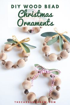 This Mini Wood Bead Ornament Tutorial is an easy DIY Christmas Ornament project that anyone can do. Anyone can make these cute wood bead ornaments! Beaded Christmas Ornaments, Christmas Wood, Farmhouse Christmas Ornaments Diy, Ornament Crafts, Holiday Crafts, Diy Ornaments, Ornaments Design, Glass Ornaments, Diy Christmas Decorations For Home