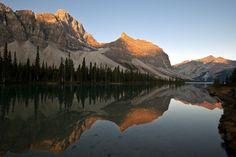 Croofoot Mountain reflected in Bow Lake at sunrise, Banff National Park Alberta - Canada www.daisygilardini.com