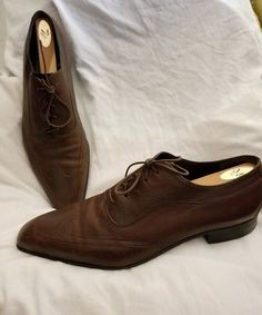 Bally Switzerland oxford 11 D Battersby Brogue brown leather full grain square #Bally #Oxfords #SOLD
