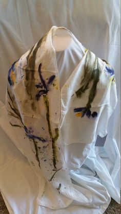 100% Silk Hand Painted Iris Scarf by BlueMountainTextiles on Etsy