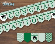 Green and Gold Chevron Congratulations Banner, DIY 2014 Graduation Banner… Graduation Banner, Graduation Day, Congratulations Banner, Bunting Design, Grad Party Decorations, Diy Banner, Banner Ideas, Gold Party, School Colors