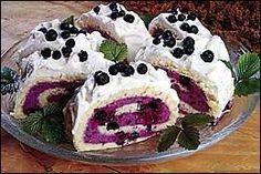 Borůvková roláda (pro Flo) recept - Labužník.cz Pie, Pudding, Food, Torte, Cake, Meal, Fruit Pie, Custard Pudding, Essen