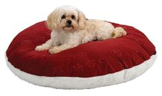 """MidWest Quiet Time e'Sensuals Reversible Polyfill Pillow w/ synthetic Sheepskin and Embossed Paw Print/ Bone Design Round Burgundy 34"""" Round"""