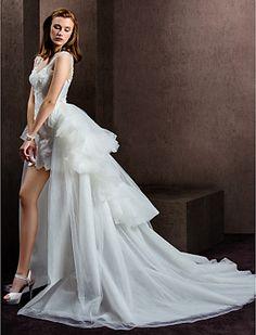 Sheath/Column Scoop Tulle Short/Mini Wedding Dress - USD $ 199.99