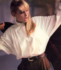"""80s-90s-supermodels: """" """"Casual… With a New Beat to Plaid"""", VOGUE US, October 1984 Photographer: Arthur Elgort Model: Kim Alexis """""""