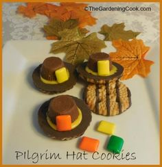 Pilgrim Hat cookies - DIY cookie project for Thanksgiving  thegardeningcook....