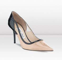 Jimmy Choo | Visor | Nude And Black Patent Leather Pointy Toe Pump | JIMMYCHOO.COM