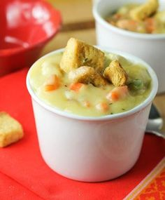 Chicken Pot Pie Soup 1 small onion 2 stalks celery 1 cup mushrooms ½ teaspoon dried thyme salt and pepper 2 cloves garlic 3 medium carrots 3 medium Yukon gold potatoes 16 oz cooked chicken breast ¼ cup all-purpose flour 4 cups low-sodium chicken broth ¾ cup frozen peas 2 tablespoons fresh parsley 1 cup milk