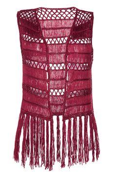 Maroon Crochet Tassel Waistcoat