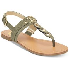 G by Guess Lesha Flat Sandals Women's Shoes Beaded Sandals, T Strap Sandals, Flat Sandals, Leather Sandals, Shoes Sandals, Flat Shoes, Olive Green Shoes, Green Sandals, Slippers For Girls