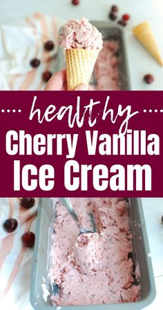 Homemade ice cream is so delicious and this cherry vanilla ice cream is no exception! The best part about it is this is actually a healthy ice cream recipe. Its made with Greek yogurt (in addition to cream and milk) to boost the protein content. Protein Ice Cream, Yogurt Ice Cream, Vanilla Greek Yogurt, Healthy Ice Cream, Vanilla Ice Cream, Frozen Yogurt, Ice Cream Desserts, Frozen Desserts, Ice Cream Recipes