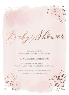 Watercolor baby shower invitation Light pink with rose gold pressed foil Availab. - Watercolor baby shower invitation Light pink with rose gold pressed foil Available on Minted By Min - Coed Baby Shower Invitations, Baby Shower Invitations For Boys, Baptism Invitations Girl, Gold Baby Showers, Baby Boy Shower, Baby Showers Juegos, Pink And Gold, Rose Gold, Silk Flowers