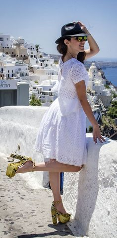 Eirini from Love Fashion taking a stroll in Santorini with her #MIGATO ES1511 high-heeled snakeskin sandals!  SHOP NOW ON SALE ► miga.to/ES1511-L11en #snakeskin #sale #fashionblogger