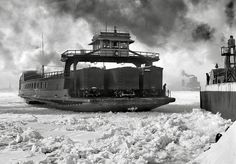 Poster Print-Car ferry, Michigan Central, entering slip, Detroit River, Poster sized print made in the USA Poster Cars, Great Lakes Ships, Detroit History, Ferry Boat, Rail Car, Detroit Michigan, Lake Michigan, Lake Erie, By Train
