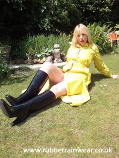 This gorgeous babe is ready to go in her revealing Rubber Rainwear! Find more on our website!