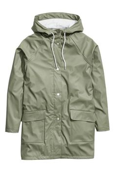 Rain coat: Rain coat in water-repellent functional fabric with welded seams, a drawstring hood, press-studs down the front, and flap front pockets. Unlined. The jacket has a water-repellent coating without fluorocarbons.