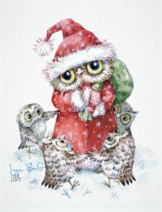 Inga Izmaylova is a Russian contemporary illustrator. He lives in Moscow and signs his drawings of Inga SmC animals. Christmas Animals, Christmas Pictures, Christmas Art, Decoupage, Paper Owls, Owl Cartoon, Owl Pictures, Beautiful Owl, Owl Print