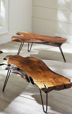 New Raw Wood Table Diy Furniture Ideas Natural Wood Furniture, Industrial Design Furniture, Unique Furniture, Furniture Design, Diy Table, Wood Table, Diy Furniture Projects, Living Rooms, Architecture Design