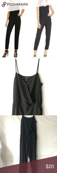 """Jessica Simpson   Black Sleeveless Jumpsuit Jessica Simpson women's black spaghetti strap, v-neck, jumpsuit. Pull on. Size medium. Gently used with no known flaws.  Chest: 19"""" Waist: 15.5"""" Rise: 11"""" Inseam: 28""""  D2-606 Jessica Simpson Pants Jumpsuits & Rompers"""