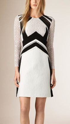 Burberry Prorsum A-line Patchwork Lace Cotton Silk Dress ($2,995)