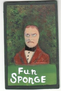 Fun Sponge small original US outsider artist brut painting mixed media unhappy #Outsider