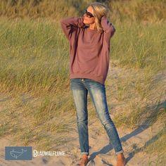 Blauwalfluke Schnittchen Shirt Catrin - Another! Sweatshirt Outfit, Damen Sweatshirts, Diy Shirt, Diy Fashion, Mauve, Skinny Jeans, Street Style, Sewing, My Style