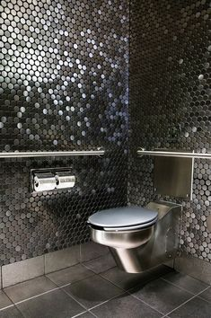 Restroom~ silver mosaic tile, S/S toilet