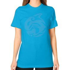 Tribal Killer Whale Tattoo in Blue Unisex T-Shirt (on woman)