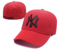 MLB NY Yankees Stretch Fitted Baseball Caps Red|only US$6.00 - follow me to pick up couopons.