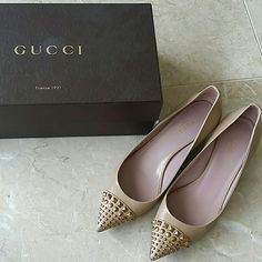 Gucci kitten heels 100% authentic Gucci kitten jeweled camel heels. Worn only several times. Fall winter 2015 seasonal design; color is camel nude with about 1 inch heels. Haven't worn it enough to stretch out the shoes so the shape is still in great condition. Only thing is that one of the jewels at the very front fell off; shown on 2nd picture. Comes with box and dust bag. Gucci Shoes Heels