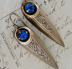 Earrings Victorian Dagger Brilliant Blue Vintage Brass Steampunk EARRINGS