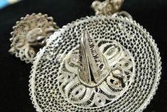 Mexico Silver Brooch Earrings Cannetille by PattysJewelryEtc