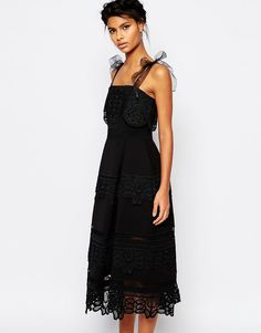 Image 1 of Self Portrait Bow Strap Lace Dress