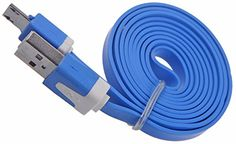 """myLife Pacific Blue {Bright Tangle-Free Noodle Design} 6' Feet (1.8 Meter) Quick Charge USB 2.0 Micro USB to USB Data Sync Cord for Phones, Cameras, Tablets and GPS Devices """"SEE COMPATIBILITY"""" (Durable Rubber Coat) myLife Brand Products http://www.amazon.com/dp/B00NY367S4/ref=cm_sw_r_pi_dp_509tub04QBV7B"""