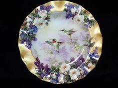 Beautiful Lena Liu  Hummingbird Plate  crown jewels  from Delicate Treasures 1999 gold trim