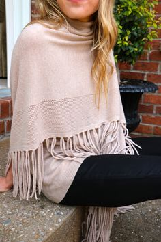 Cute Fringe Cashmere Poncho for fall, winter, spring, or even summer!
