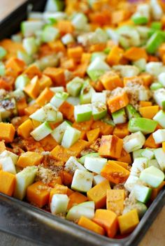 This roasted butternut squash recipe includes green apples and candied walnuts. Serve this vegetable side dish with your holiday dinner for a taste of fall. Side Dish Recipes, Vegetable Recipes, Vegetarian Recipes, Cooking Recipes, Healthy Recipes, Top Recipes, Kitchen Recipes, Fall Recipes, Veggies