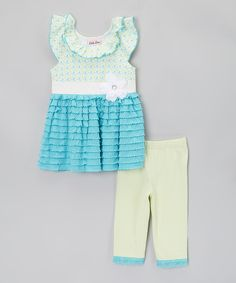 Love this Blue & Green Flower Tunic & Leggings - Infant, Toddler & Girls by Little Lass on #zulily! #zulilyfinds