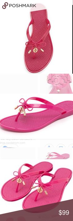 Tory Burch pink jelly flip flop thong sandals! New without tags! Beautiful practical comfortable sandals! Perfect for summer! Check out my other listings! Bundle and save:) Tory Burch Shoes Sandals