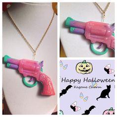 Gun pendant necklace glitter pink purple green handgun hand gun jewelry