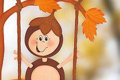 Basteln im Herbst macht der ganzen Familie Spaß. Das fröhliche, schaukelnde Kastanienmännchen-Fensterbild bringt Freude in jedes Kinderzimmer! © Christophorus Verlag