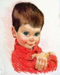 """Does this look like a little """"Elliott"""" or """"Oliver""""?  1959 - Frances Hook Northern Prints (Northern Paper Mills) - """"All-American Boys"""" Collection"""