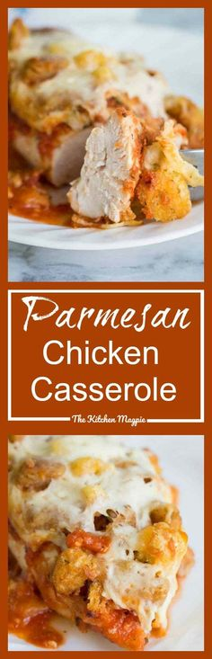 Parmesan Chicken Casserole! Easy, delicious and perfect for those busy weekdays! You can double this recipe easily as well!