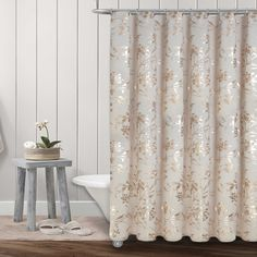Colordrift Wildflower 54 Inch X 78 Inch Shower Curtain In Gold