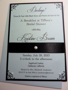 Breakfast at Tiffany's Bridal Shower Invitation Vintage Inspired Swarovski Pearls Set of 10